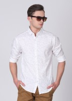 People Mens Printed Casual White Shirt