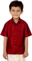 Thangamagan Boys Solid Casual Maroon Shirt