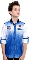 MashUp Boys Printed Casual Blue Shirt(Pack of 2)