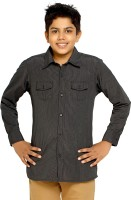 Kick Start Boys Striped Casual Black Shirt