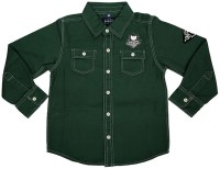 Shishu.Online Boys Solid Casual Green Shirt
