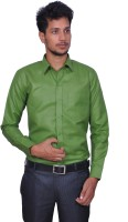 Leaf Mens Solid Formal Green Shirt