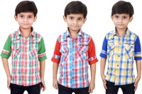Ice Blue Boys Checkered Casual Green, Red, Blue Shirt(Pack of 3)