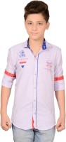 Anry Boys Solid Casual Purple Shirt