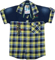 Kidzee Boys Checkered Casual Yellow Shirt