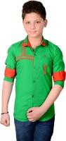Aedi Boys Solid Casual Green Shirt
