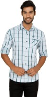 Macoro Mens Checkered Casual Green, White Shirt
