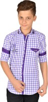 Anry Boys Checkered Casual Purple Shirt
