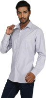 Macoro Mens Striped Casual White, Blue Shirt