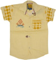 Kidzee Boys Self Design Casual Yellow Shirt