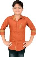 Aedi Boys Solid Casual Maroon Shirt