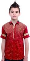 MashUp Boys Printed Casual Red Shirt