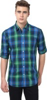 MONTEIL & MUNERO Mens Checkered Casual Green Shirt