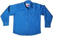 Little Man Boys Solid Casual Blue Shirt
