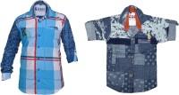 Kidzee Boys Self Design Casual Blue Shirt(Pack of 2)
