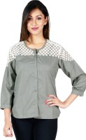 Faireno Womens Solid Casual Grey, White Shirt