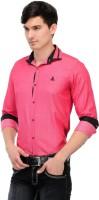 Macoro Mens Solid Casual Pink Shirt
