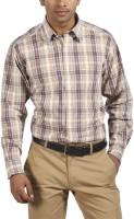 ColorPlus Men Checkered Casual Brown Shirt