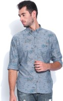 United Colors of Benetton Mens Floral Print Casual Blue Shirt