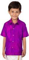 Thangamagan Boys Solid Casual Purple Shirt
