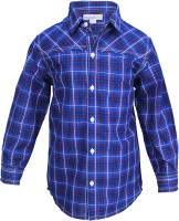 ShopperTree Boys Checkered Casual Blue Shirt