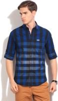The Indian Garage Co. Mens Checkered Casual Black, Blue Shirt