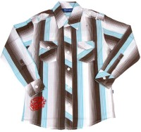 Dreamszone Boys Striped Casual Brown, Blue Shirt