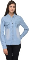 Being Fab Women's Solid Casual Blue Shirt
