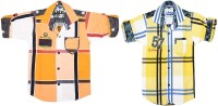 Kidzee Boys Self Design Casual Orange, Yellow Shirt(Pack of 2)