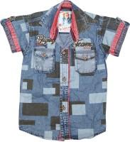 Kidzee Boys Self Design Casual Brown Shirt