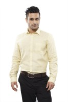 Turtle Mens Solid Formal Yellow Shirt
