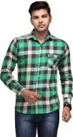 Macoro Mens Checkered Casual Green Shirt
