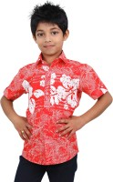 Zeal Boys Floral Print Casual Red, White Shirt