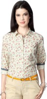 People Women's Floral Print Casual White Shirt