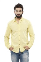 Turtle Mens Solid Casual Yellow Shirt