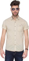 Mufti Mens Houndstooth Casual Beige, Blue Shirt