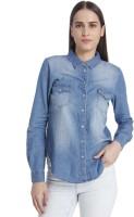 Vero Moda Women's Solid Casual Blue Shirt