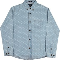 Indian Terrain Boys Printed Casual White, Blue Shirt