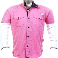 Fingerchips Boys Self Design Casual Pink White Shirt