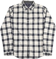 Indian Terrain Boys Checkered Casual White, Dark Blue Shirt