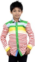 Zeal Boys Striped Casual White, Red, Green Shirt