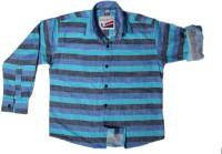 Little Man Boys Striped Casual Blue Shirt