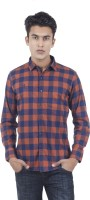 EdenElliot Mens Checkered Casual Brown, Dark Blue Shirt