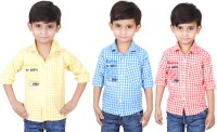 Ice Blue Boys Checkered Casual Yellow, Blue, Red Shirt(Pack of 3)