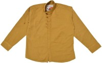 Little Man Boys Solid Casual Beige Shirt