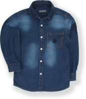 Tonyboy Boys Embroidered Casual Dark Blue Shirt