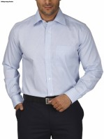 Park Avenue Men's Checkered Formal Light Blue Shirt