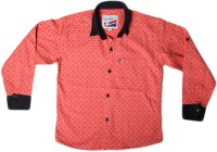 Little Man Boys Printed Casual Pink Shirt