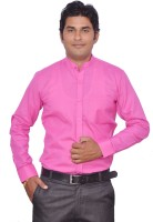Leaf Mens Solid Casual Pink Shirt