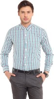 I-Voc Mens Checkered Formal Green, Blue Shirt